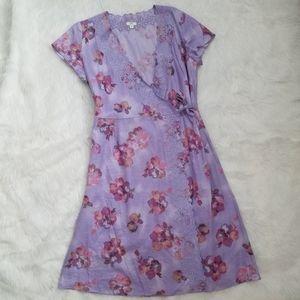💛 J. Jill Linen Floral Violet Purple Wrap Dress